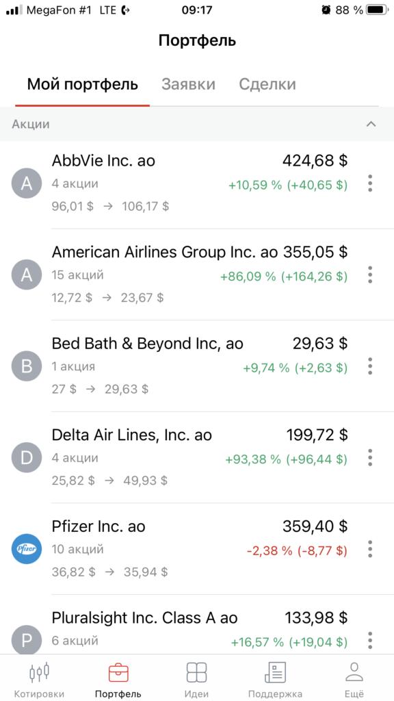 Портфель Американских акций...
